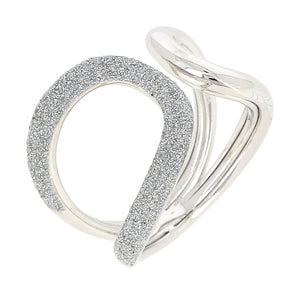 """Polvere"" Rhodium Plated Sterling Silver Infinity Ring 