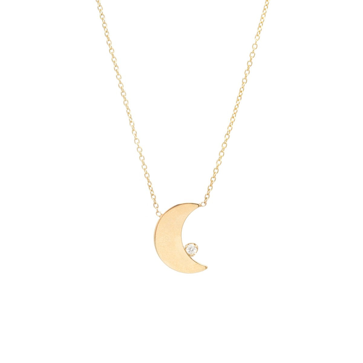 Vertical Crescent Moon & Prong Diamond Necklace | Art + Soul Gallery