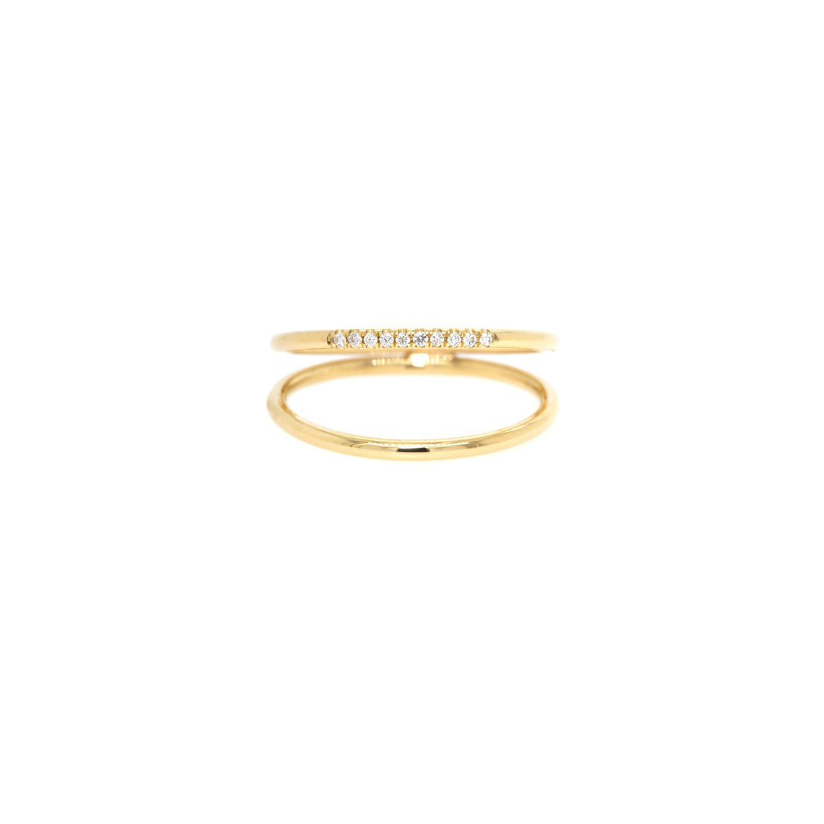 Double Band Pave Diamond Ring