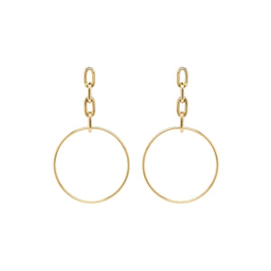 Large Square Oval Chain Drop Hoop Earrings