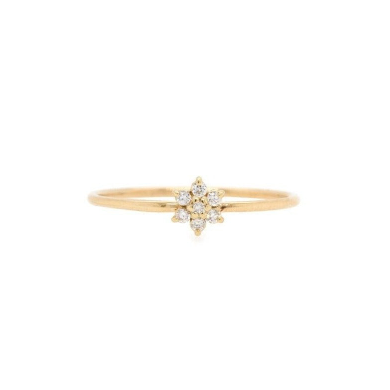 Prong Set Diamond Flower Ring