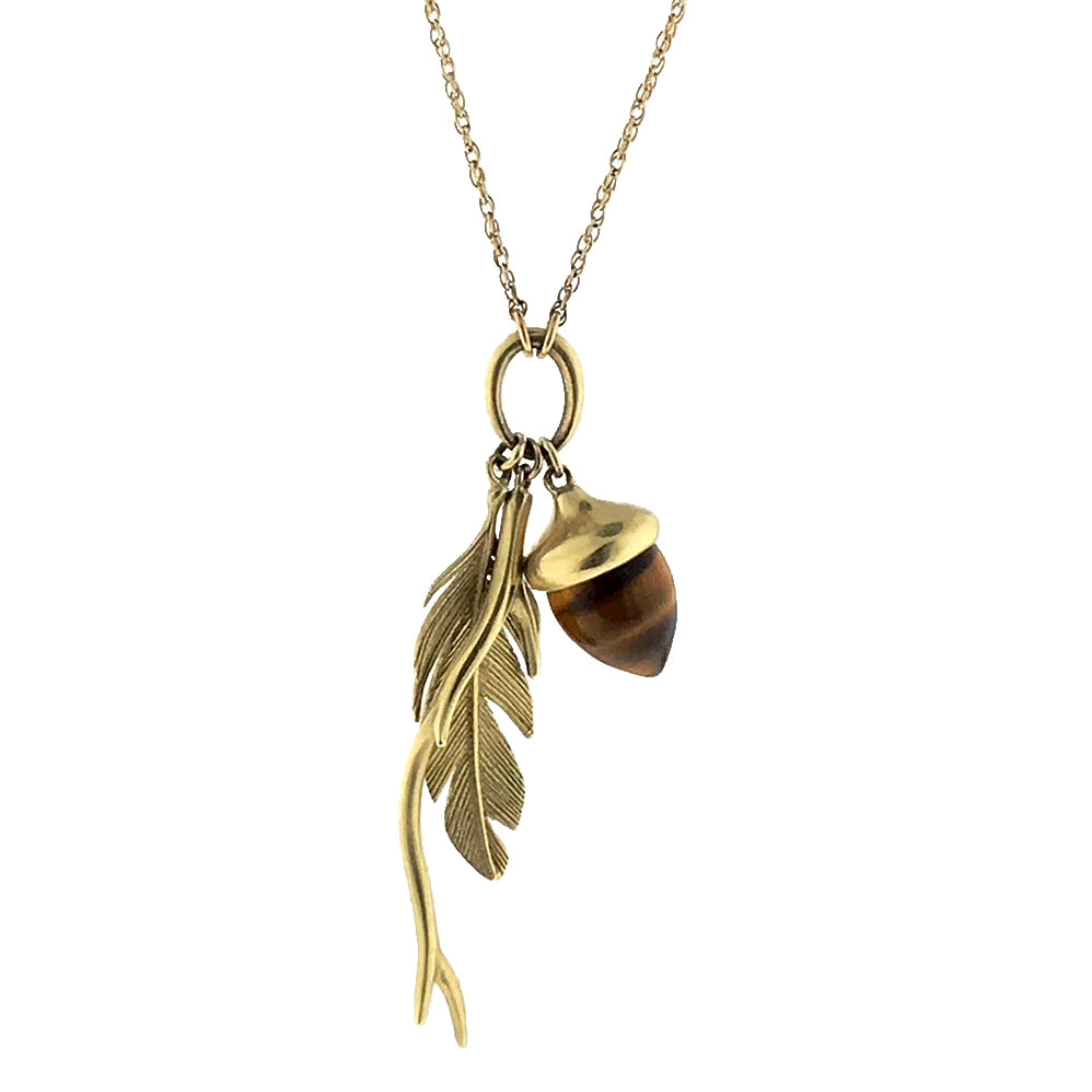 Acorn, Feather, and Branch Necklace | Art + Soul Gallery