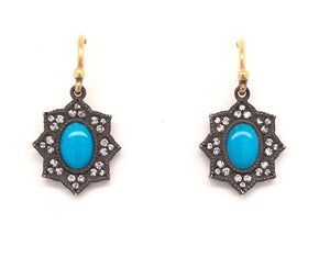 Medium Turquoise Flower Earrings | Art + Soul Gallery