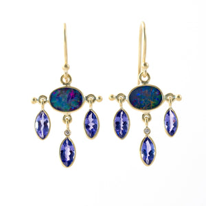 Opal and Tanzanite Chandelier Earrings | Art + Soul Gallery
