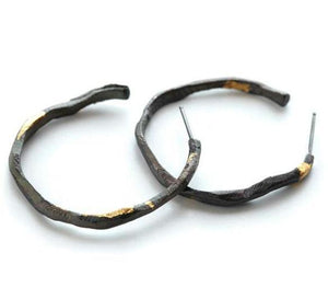 Stonehenge Hoop Earrings with Gold