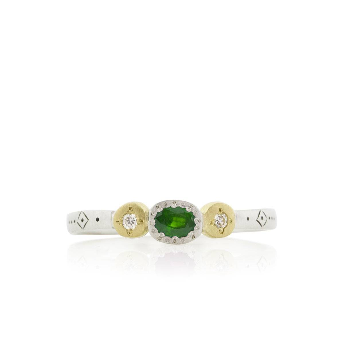 Emerald Harmony Oval and Round Charm Ring