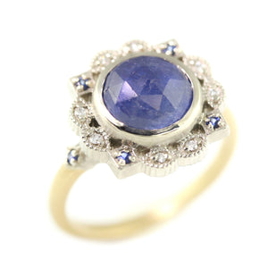 Two Tone Ribbon Frame Rose Cut Sapphire Ring