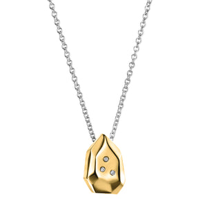 Mini Briolette Gold Pendant With White Diamonds | Art + Soul Gallery