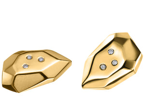 Mini Faceted Gold Briolette Studs With Diamonds | Art + Soul Gallery