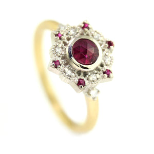 Two Tone Ribbon Frame Ruby Ring