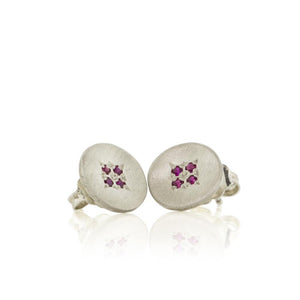 Four Star Wave Charm Studs with Rubies | Art + Soul Gallery