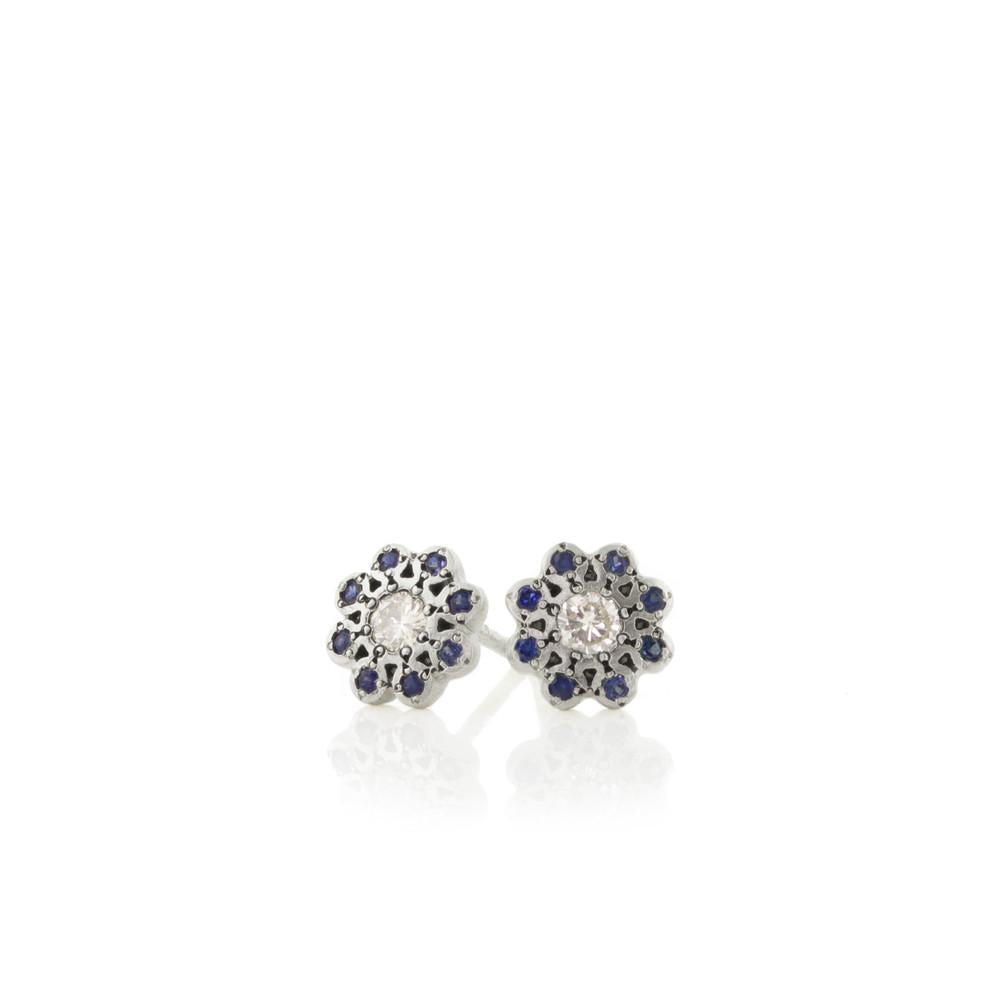 Sapphire and Diamond Moonflower Charm Studs