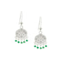 Load image into Gallery viewer, Beaded Emerald New Moon Earrings