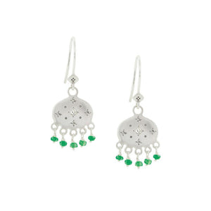 Beaded Emerald New Moon Earrings