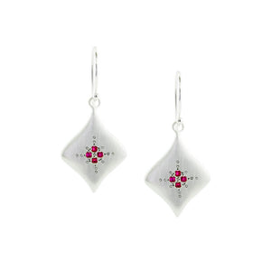 Ruby Silver Night Earrings