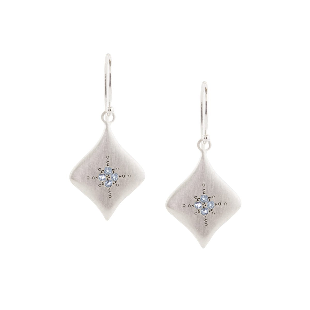 Aquamarine Silver Night Earrings