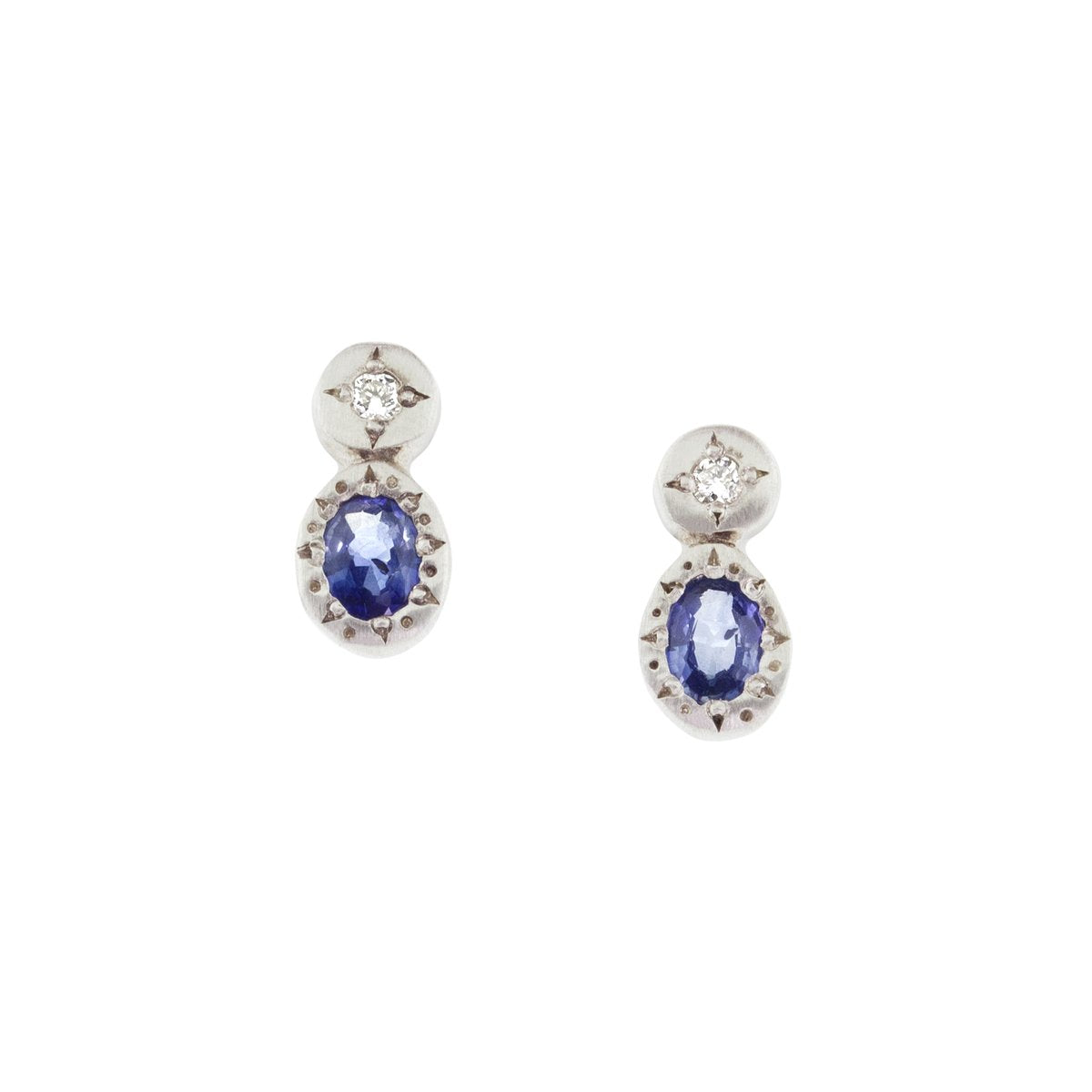 Oval and Round Sapphire Studs | Art + Soul Gallery