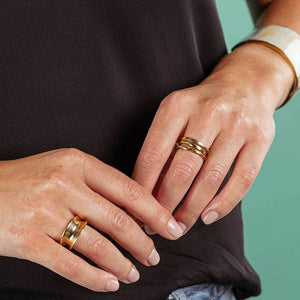 Gold Moto Stacking Rings