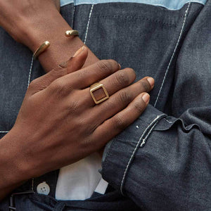 Gold Open Square Statement Ring