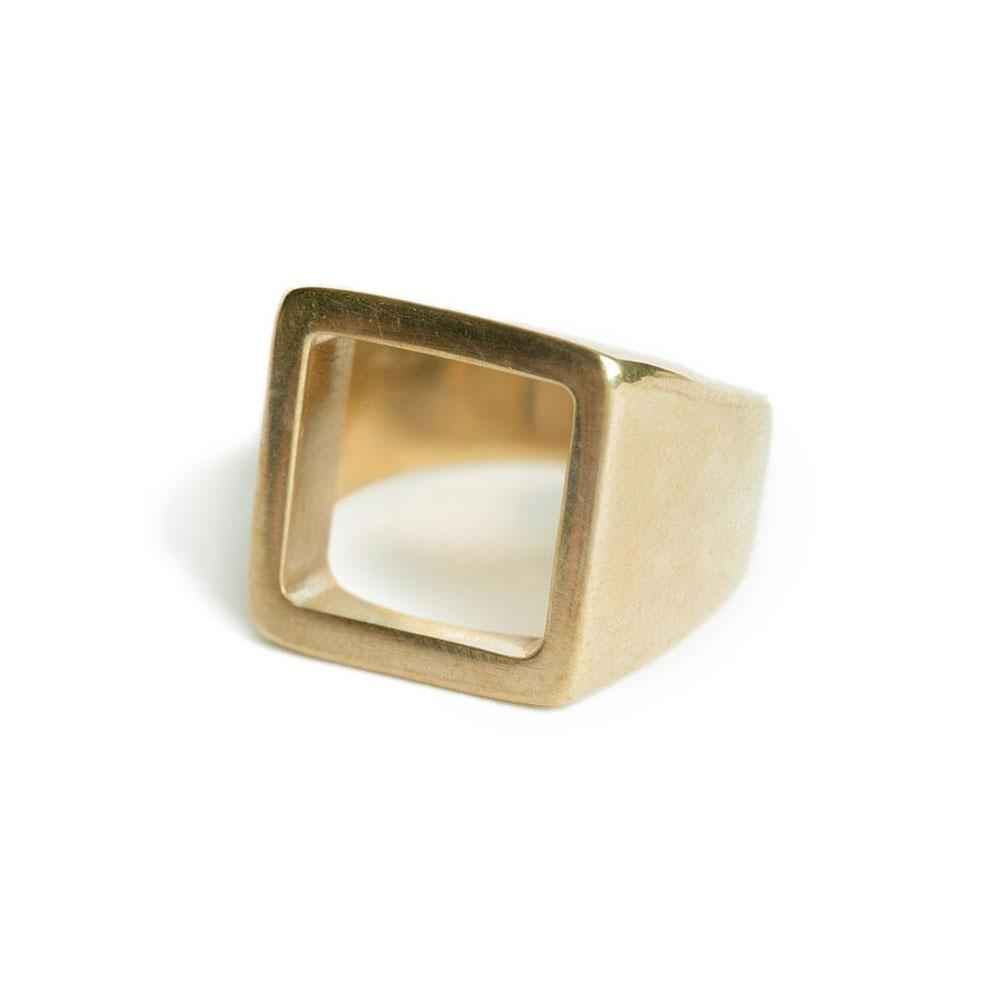 Gold Open Square Statement Ring | Art + Soul Gallery