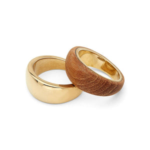 Gold and Teak Sanamu Stacking Rings | Art + Soul Gallery