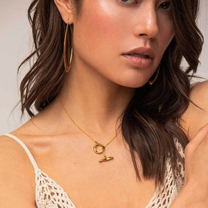 Gold Twist Lariat Necklace