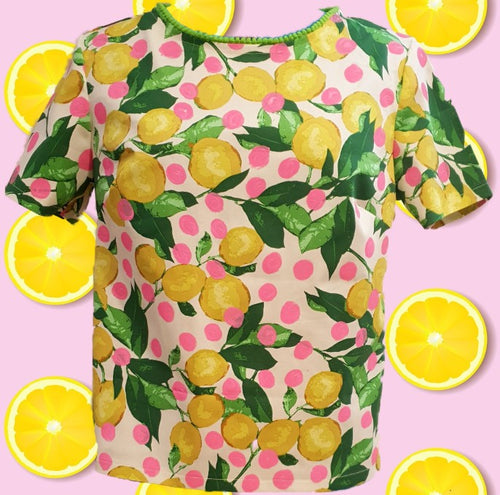 Lemons and polka dots- One Of A Kind- women's top
