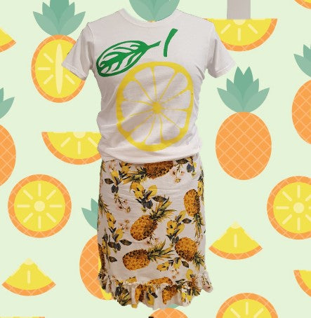 Lemon and Pineapple print skirt-One Of A Kind