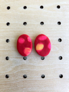 Red dot single stud-Earrings