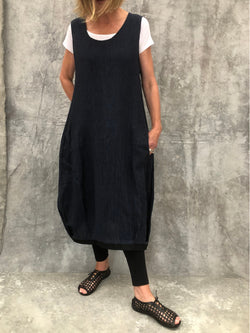 Maya Blue Crinkle Linen Dress