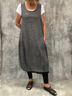 Maya Grey Crinkle Linen Dress