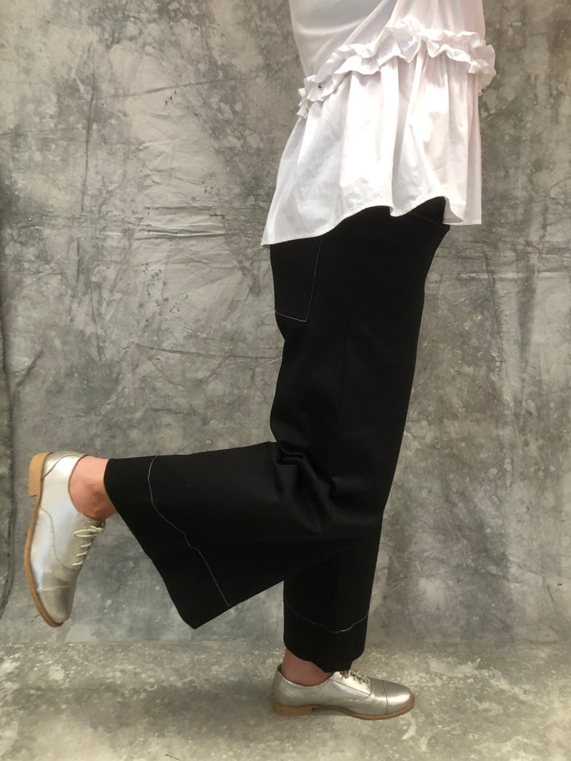 Mila Pant Longer Length Black Stretch Cotton Contrast Stitching