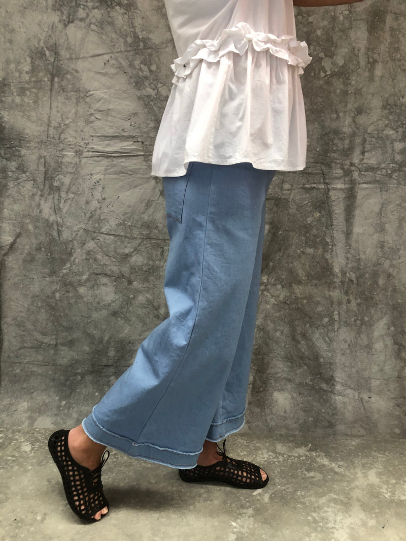 Mila Pant Chambray Denim Raw Cuff