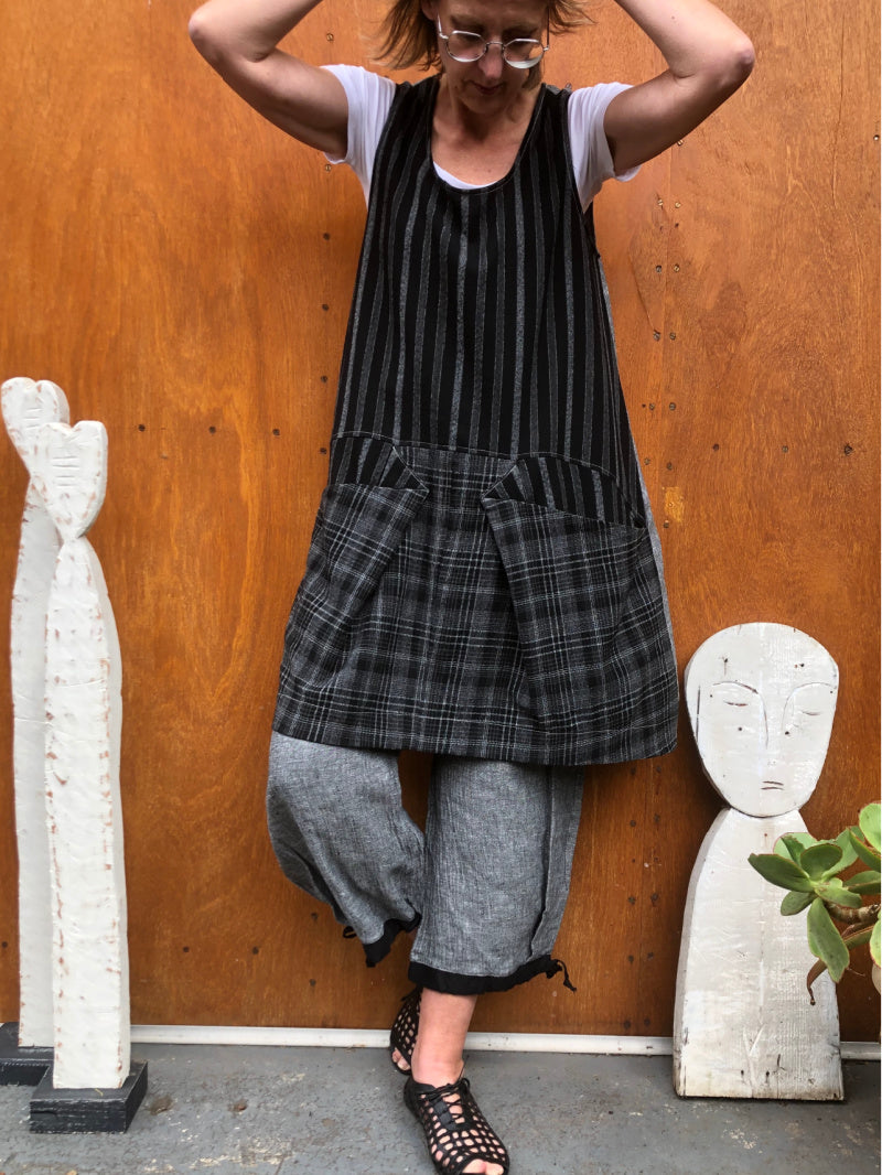 Piper Tunic Stripe and Check Grey