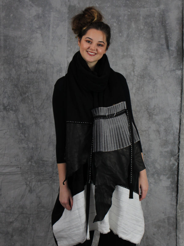 Wool Scarf with Leather and Pleating