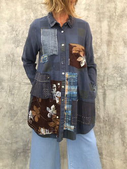 Stella Shirt Reworked Blue/Brown S