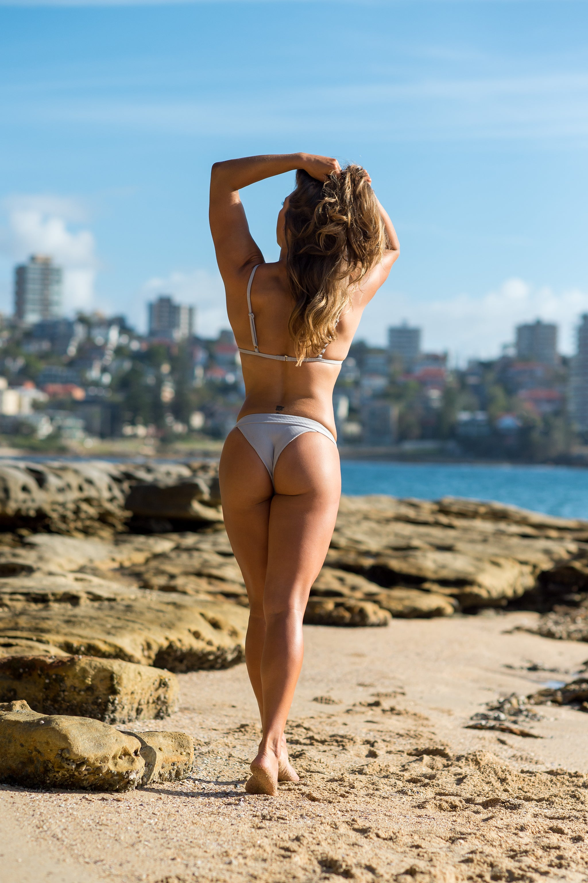 The Hessian Collection | Hvar String - Cheeky grey ribbed bikini