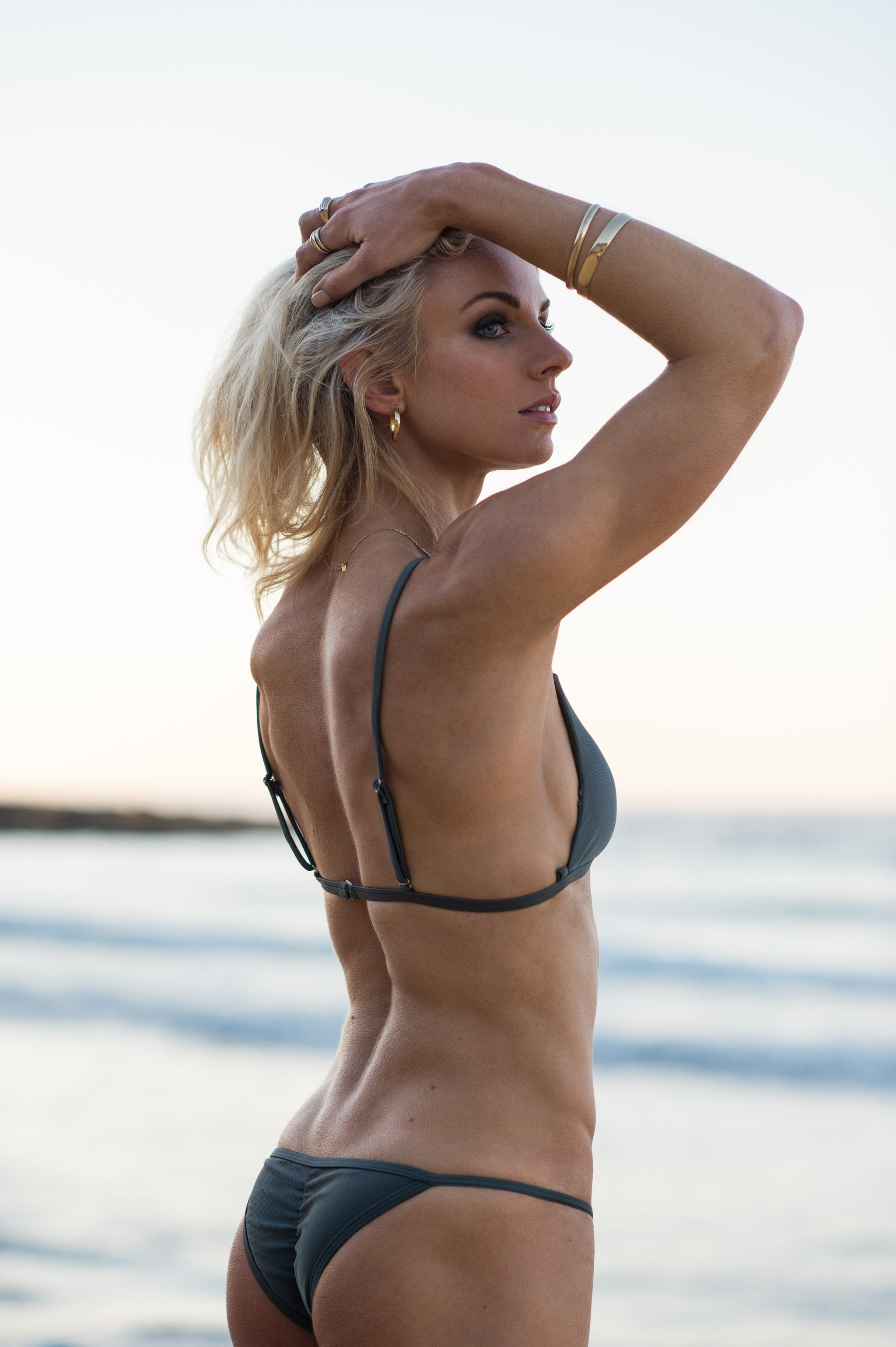 Cheeky String Bikini in Metal Grey by The Hessian Collection