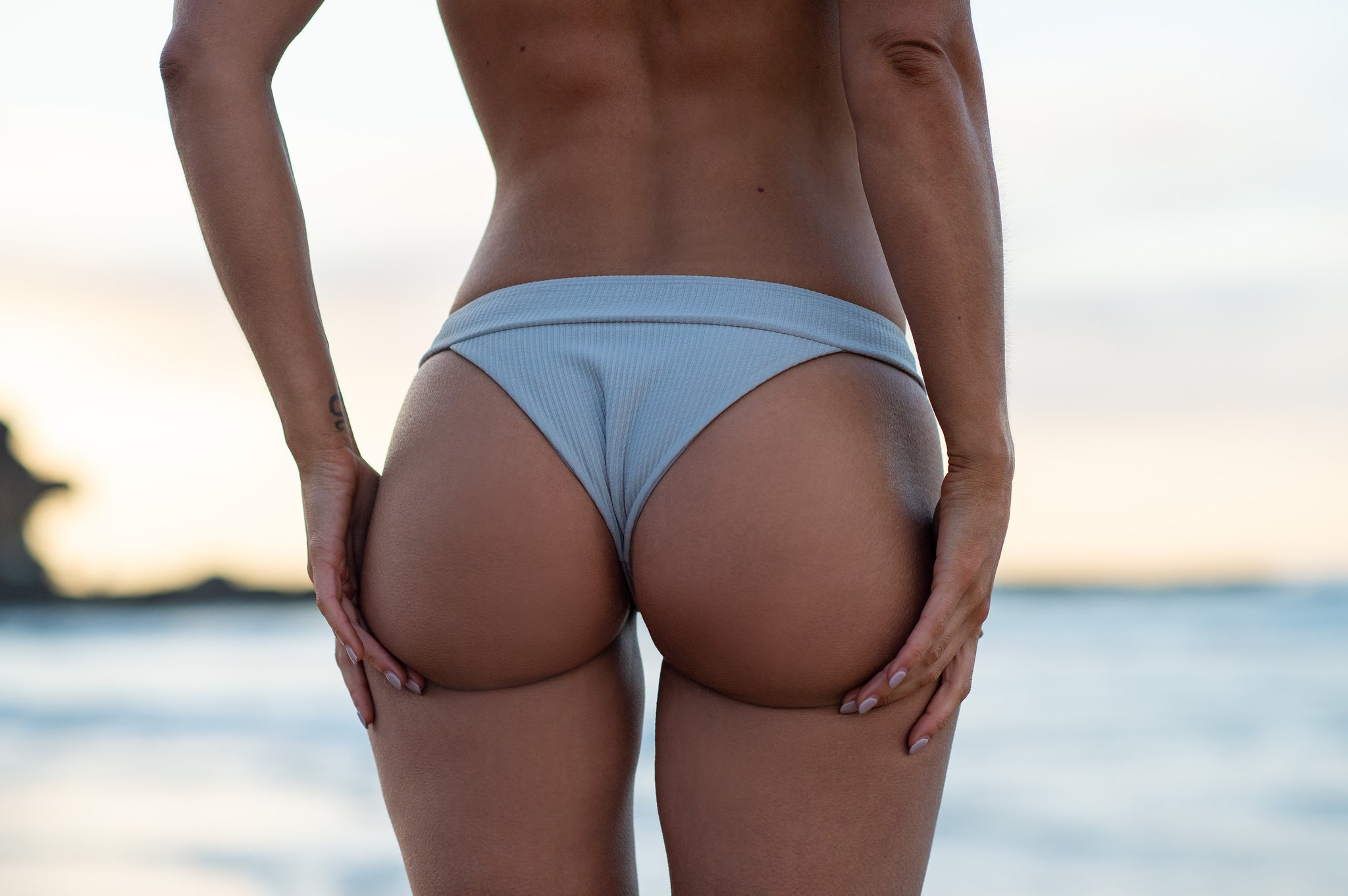 Hvar String by The Hessian Collection - Cheeky Ribbed Grey Bikini
