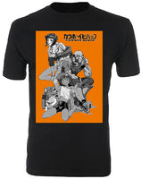 COWBOY BEBOP - BLACK & WHITE GROUP ON ORANGE BLOCK ADULT SHIRT