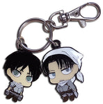 ATTACK ON TITAN - SD EREN & LEVI CLEANING OUTFITS METAL KEYCHAIN