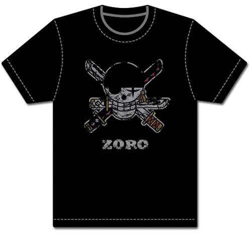 ONE PIECE - ZORO PIRATE FLAG DISTRESSED ADULT SHIRT