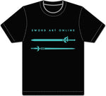 SWORD ART ONLINE - KIRITO & ASUNA SWORDS BLACK ADULTS SCREEN PRINT SHIRT