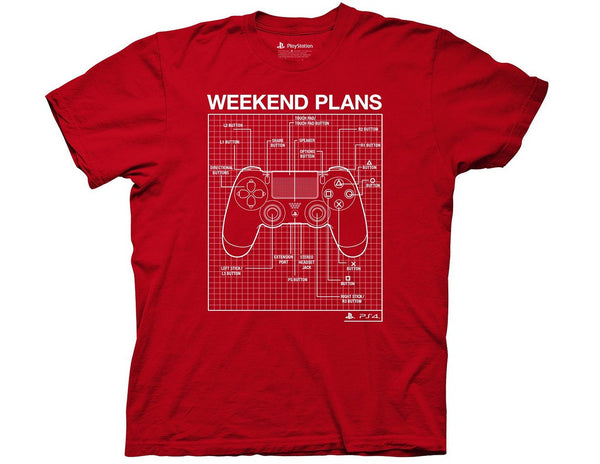 PLAYSTATION WEEKEND PLANS ADULT T-SHIRT