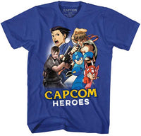 Capcom Heroes Cartoon Mash Up Blue Adults Shirt