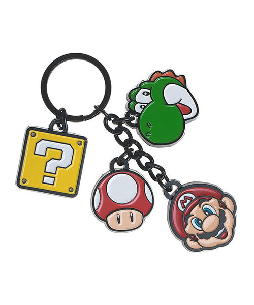 Super Mario Metal Keychain - Mario, Yoshi & Question Block