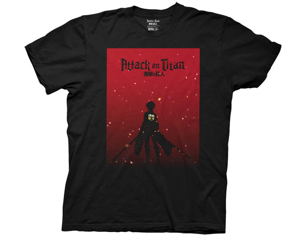 ATTACK ON TITAN SILHOUETTE ON RED ADULT T-SHIRT