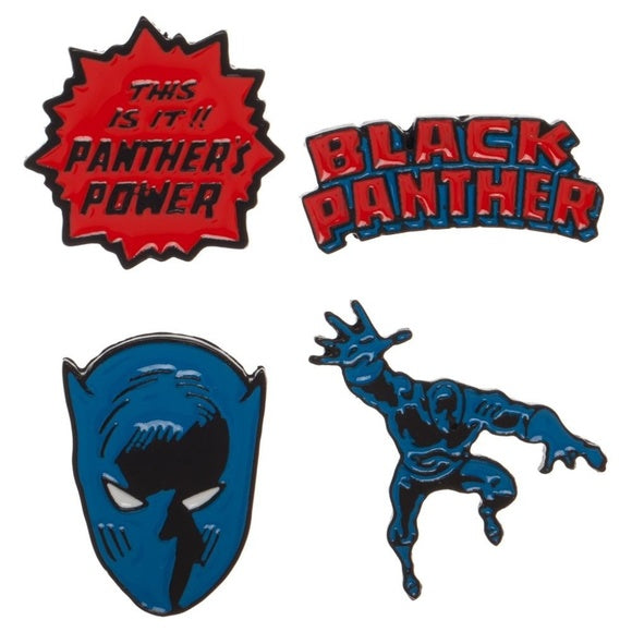 Black Panther Pin Set - blue, red & black
