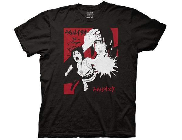 NARUTO - SHIPPUDEN ITACHI & SASUKE 2 COLOR WITH KANJI ADULT T-SHIRT