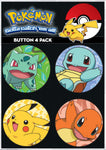 Pokemon 4 Pack Button Collector Set - Set A - Starters